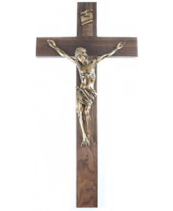 Walnut Wood 34 inch Crucifix