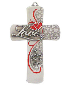 Love Message 5 inch Pewter Wall Cross
