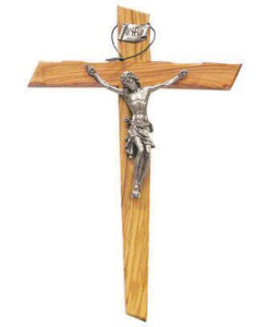 Notched Edge Olive Wood 15 inch Crucifix