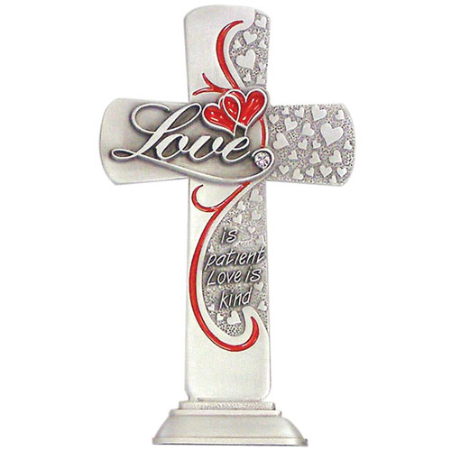 Love Message 6 inch Pewter Cross
