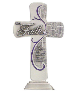 Faith Message 6 inch Pewter Cross