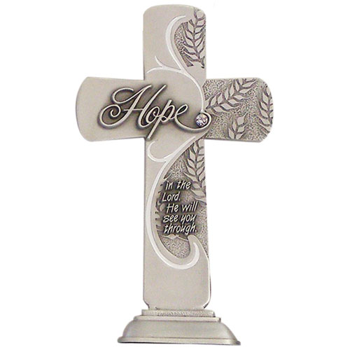 Hope Message 6 inch Pewter Cross