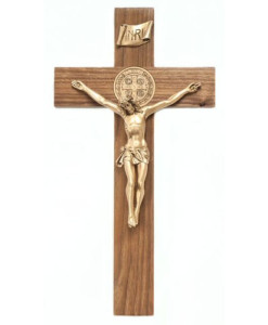 Walnut Wood St Benedict 12 inch Crucifix