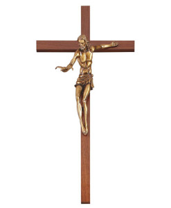 Walnut Wood Gift Of The Spirit 22 inch Crucifix