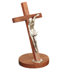 Walnut Wood Gift Of The Spirit 11 inch Crucifix