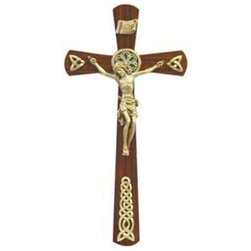 Walnut Wood Celtic 12 inch Cross