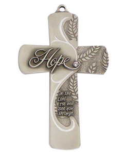 Hope Message 5 inch Pewter Wall Cross