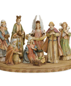 Wood Look Nativity 8 Piece Set with base
