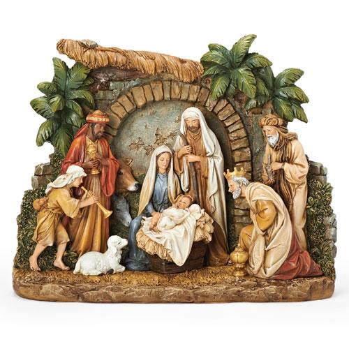 Nativity Shadow Box with Animals and Façade