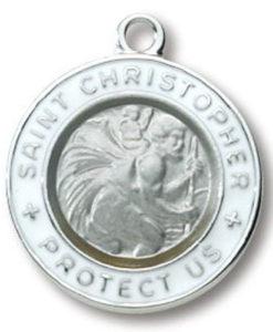 Sliver/White Sterling Silver Round Saint Christopher Medal