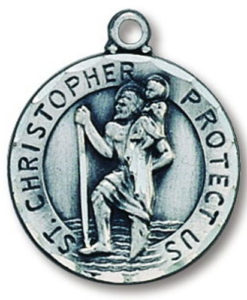 Sterling Silver Round Saint Christopher Medal