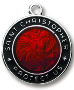 Black/Red Sterling Silver Round Saint Christopher Medal