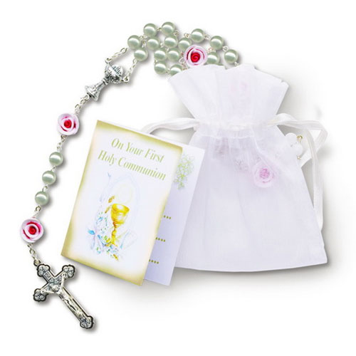 First Communion Pearl Rosary with Clay Beads