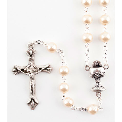 First Communion Pearl Rosary with Chalice Centre | 19 inch Length
