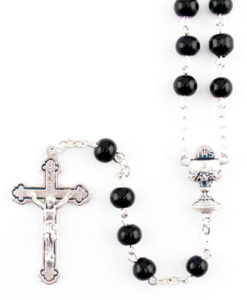 First Communion Black Wood Rosary with Chalice Centre | 19 inch Length