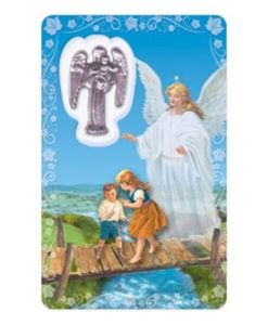 Guardian Angel Prayer Card with Medal