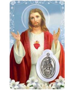 Sacred Heart Prayer Card with Medal