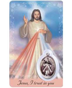 Divine Mercy Prayer Card with Medal