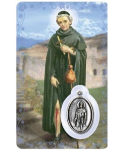 St. Peregrine Prayer Card with Medal