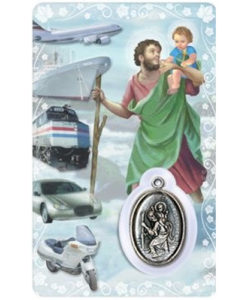 St. Christopher Prayer Card with Medal