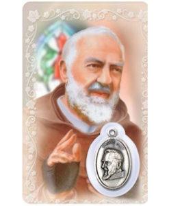 St. Pio of Pietrelcina Prayer Card with Medal