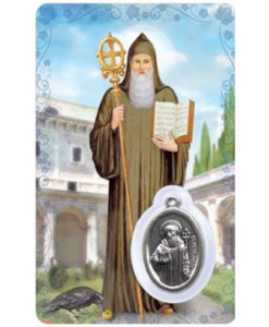 St. Benedict Prayer Card with Medal
