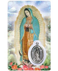 Our Lady of Guadalupe Prayer Card with Medal