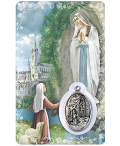 Our Lady of Lourdes Prayer Card with Medal