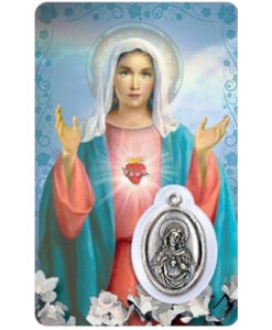 Sacred Heart of Mary Prayer Card with Medal