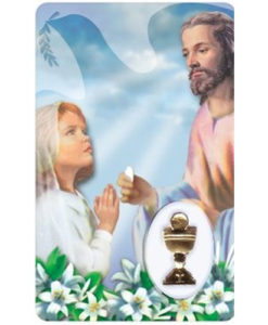 First Communion - Girl Prayer Card with Medal