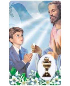 First Communion - Boy Prayer Card with Medal
