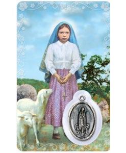 St. Jacinta Prayer Card with Medal