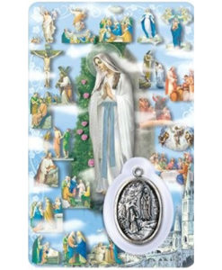 Mystery of the Rosary Prayer Card with Medal