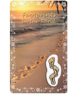 Footprints in the Sand Prayer Card with Medal