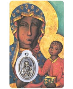 Our Lady of Czestochowa Prayer Card with Medal