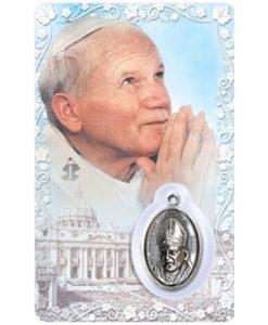 St. John Paul II Prayer Card with Medal