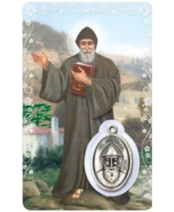 St. Charbel Prayer Card with Medal