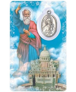 St. Peter Prayer Card with Medal