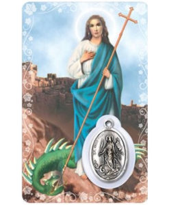 St. Martha Prayer Card with Medal