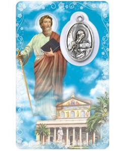 St. Paul Prayer Card with Medal