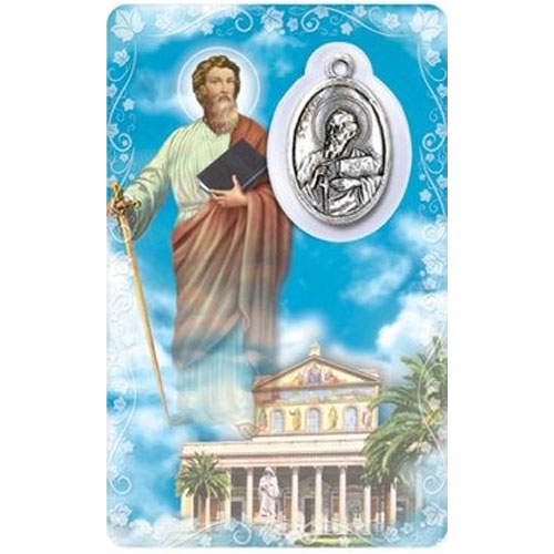 St. Paul Prayer Card with Medal