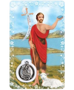 St. John the Baptist Prayer Card with Medal