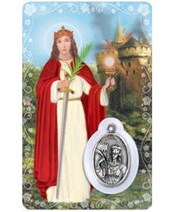 St. Barbara Prayer Card with Medal