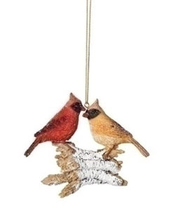 "4"" Christmas Bird on Logs Ornament - Cardinal"