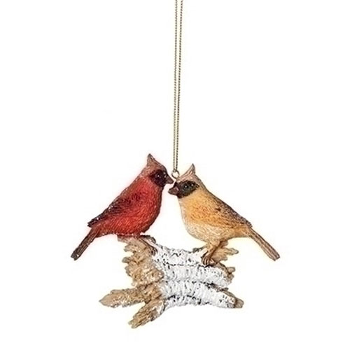 "4"" Christmas Bird on Logs Ornament - Cardinal"