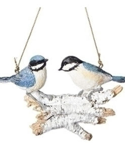 "4"" Christmas Birds on Logs Ornament - Blue Bird"