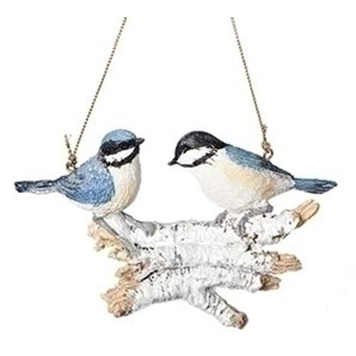 "4"" Christmas Birds on Logs Ornament - Blue Bird"