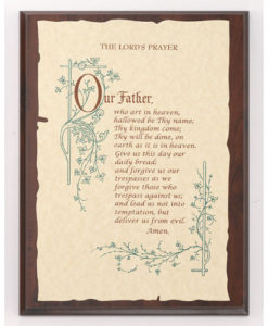 Plaque LORD's Prayer on Parchment Paper