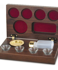 Portable Communion Walnut 4 Cup | Brasstone
