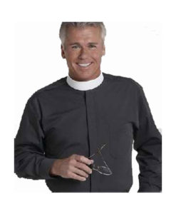 Banded Collar Clergy Shirt Long Sleeve Black
